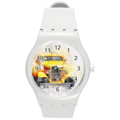 Car Old Art Abstract Round Plastic Sport Watch (m)