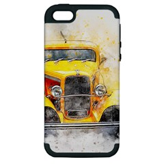 Car Old Art Abstract Apple Iphone 5 Hardshell Case (pc+silicone)