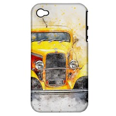 Car Old Art Abstract Apple Iphone 4/4s Hardshell Case (pc+silicone)
