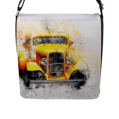 Car Old Art Abstract Flap Messenger Bag (l)