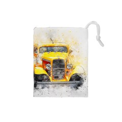 Car Old Art Abstract Drawstring Pouches (small)