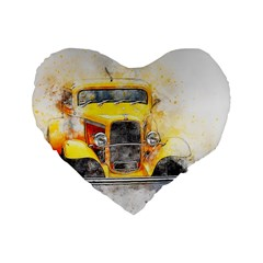 Car Old Art Abstract Standard 16  Premium Flano Heart Shape Cushions