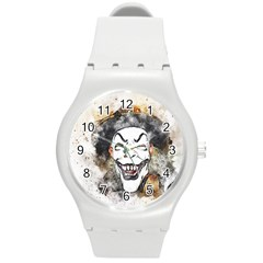 Mask Party Art Abstract Watercolor Round Plastic Sport Watch (m)