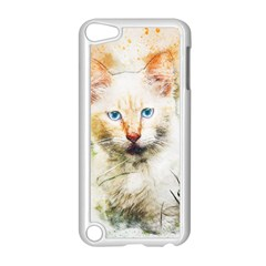 Cat Animal Art Abstract Watercolor Apple Ipod Touch 5 Case (white)