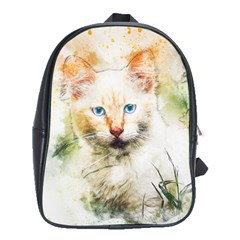 Cat Animal Art Abstract Watercolor School Bag (xl)