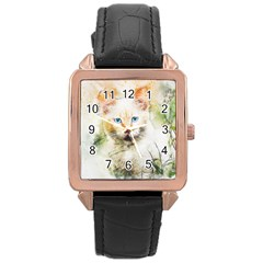 Cat Animal Art Abstract Watercolor Rose Gold Leather Watch