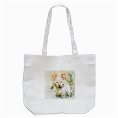 Cat Animal Art Abstract Watercolor Tote Bag (white)