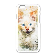Cat Animal Art Abstract Watercolor Apple Iphone 6/6s White Enamel Case