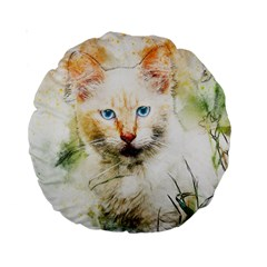 Cat Animal Art Abstract Watercolor Standard 15  Premium Round Cushions