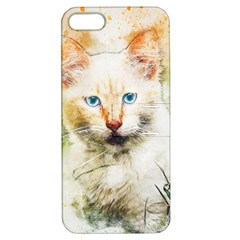 Cat Animal Art Abstract Watercolor Apple Iphone 5 Hardshell Case With Stand