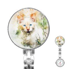 Cat Animal Art Abstract Watercolor Stainless Steel Nurses Watch