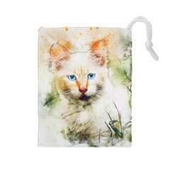Cat Animal Art Abstract Watercolor Drawstring Pouches (large)