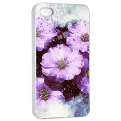 Flowers Purple Nature Art Abstract Apple Iphone 4/4s Seamless Case (white)