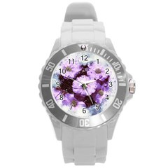 Flowers Purple Nature Art Abstract Round Plastic Sport Watch (l)