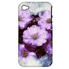 Flowers Purple Nature Art Abstract Apple Iphone 4/4s Hardshell Case (pc+silicone)