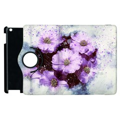 Flowers Purple Nature Art Abstract Apple Ipad 2 Flip 360 Case