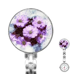 Flowers Purple Nature Art Abstract Stainless Steel Nurses Watch