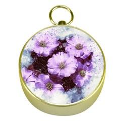 Flowers Purple Nature Art Abstract Gold Compasses