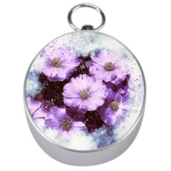 Flowers Purple Nature Art Abstract Silver Compasses