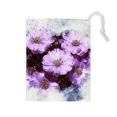 Flowers Purple Nature Art Abstract Drawstring Pouches (large)