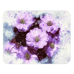 Flowers Purple Nature Art Abstract Double Sided Flano Blanket (large)