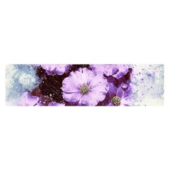 Flowers Purple Nature Art Abstract Satin Scarf (oblong)
