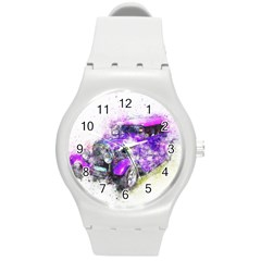 Car Old Car Art Abstract Round Plastic Sport Watch (m)