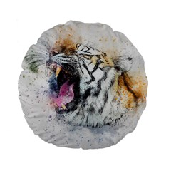 Tiger Roar Animal Art Abstract Standard 15  Premium Flano Round Cushions