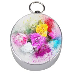 Flowers Bouquet Art Abstract Silver Compasses