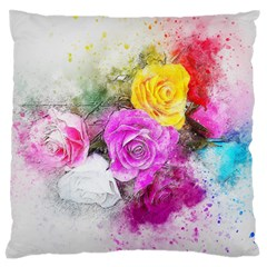 Flowers Bouquet Art Abstract Large Flano Cushion Case (two Sides)