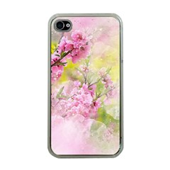 Flowers Pink Art Abstract Nature Apple Iphone 4 Case (clear)