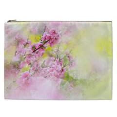 Flowers Pink Art Abstract Nature Cosmetic Bag (xxl)