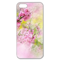 Flowers Pink Art Abstract Nature Apple Seamless Iphone 5 Case (clear)
