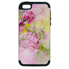 Flowers Pink Art Abstract Nature Apple Iphone 5 Hardshell Case (pc+silicone)