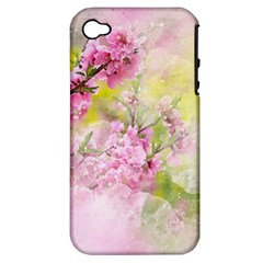 Flowers Pink Art Abstract Nature Apple Iphone 4/4s Hardshell Case (pc+silicone)