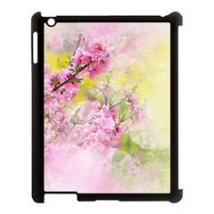 Flowers Pink Art Abstract Nature Apple Ipad 3/4 Case (black)