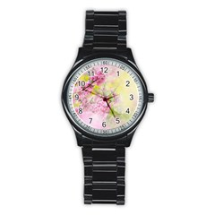 Flowers Pink Art Abstract Nature Stainless Steel Round Watch