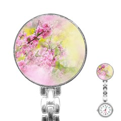 Flowers Pink Art Abstract Nature Stainless Steel Nurses Watch