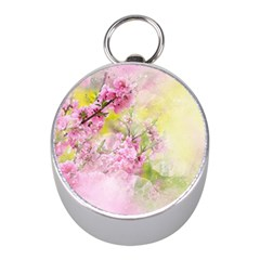 Flowers Pink Art Abstract Nature Mini Silver Compasses