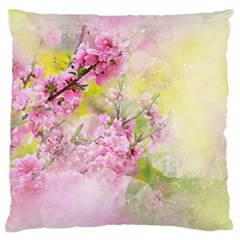 Flowers Pink Art Abstract Nature Standard Flano Cushion Case (one Side)