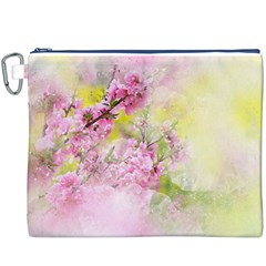 Flowers Pink Art Abstract Nature Canvas Cosmetic Bag (xxxl)