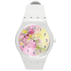 Flowers Pink Art Abstract Nature Round Plastic Sport Watch (m)