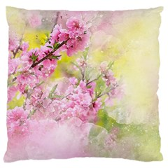 Flowers Pink Art Abstract Nature Large Cushion Case (two Sides)