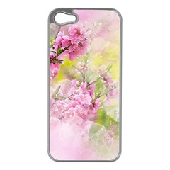 Flowers Pink Art Abstract Nature Apple Iphone 5 Case (silver)