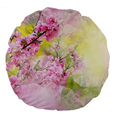Flowers Pink Art Abstract Nature Large 18  Premium Round Cushions