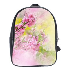 Flowers Pink Art Abstract Nature School Bag (xl)