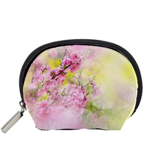 Flowers Pink Art Abstract Nature Accessory Pouches (small)