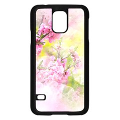 Flowers Pink Art Abstract Nature Samsung Galaxy S5 Case (black)