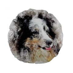 Dog Shetland Pet Art Abstract Standard 15  Premium Round Cushions