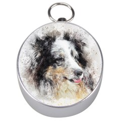 Dog Shetland Pet Art Abstract Silver Compasses